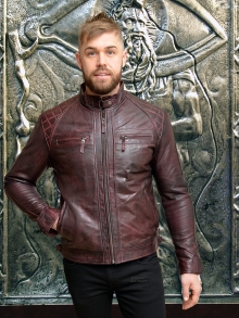 Higgs Leathers LAST FEW!  Sergei (men's Burgundy Leather Biker jacket)